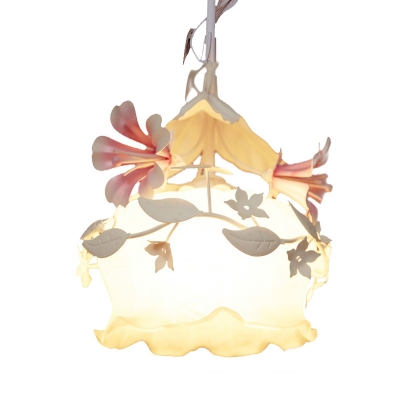 1/3 Bulbs Chandelier Lighting Fixture Country Style Floral White Glass Suspension Lamp for Bedroom