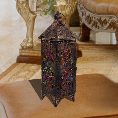 1 Head Metal Table Light Decorative Red/Purple Lantern Living Room Nightstand Lamp