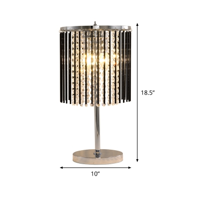 2 Heads Bead Task Lighting Modernism Faceted Crystal Reading Lamp in Chrome for Study