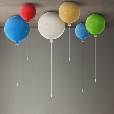 Acrylic LED Flush Light Contemporary Ceiling Fixture with Blue Balloon for Children Kids Bedroom