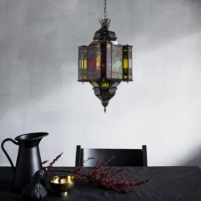 Black 8-Light Pendant Chandelier Traditional Metal Lantern Down Lighting for Restaurant