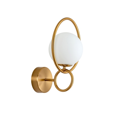 Brass Double Ring Sconce Lighting Contemporary 1-Head Metal Wall Mount Lamp with Orb Milky Glass Shade
