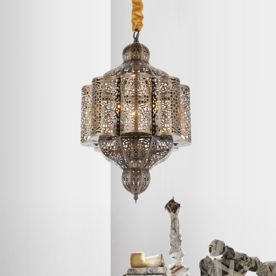 Brass Hollow Ceiling Chandelier Vintage Metal 3 Lights Restaurant Pendant Light Fixture