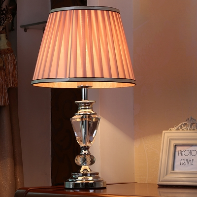 Contemporary 1 Bulb Desk Light White/Pink Tapered Drum Night Table Lamp with Fabric Shade
