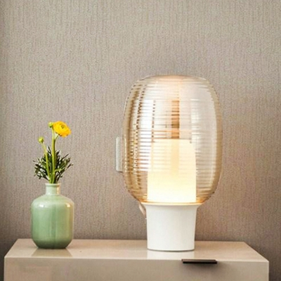 Contemporary 1 Head Table Light White Cylindrical Nightstand Lamp with Amber Glass Shade