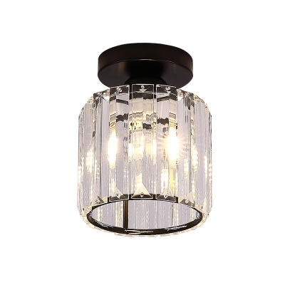 Cylinder Flushmount Modern Clear Glass 1 Light Balcony Flush Ceiling Lamp in Black
