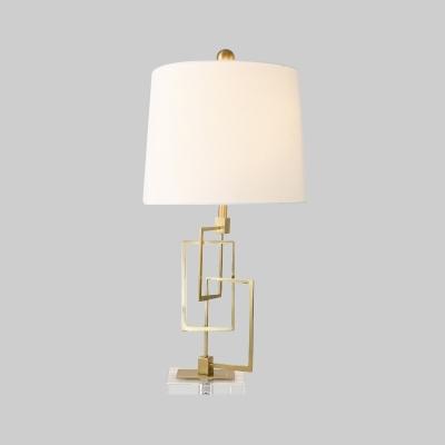 Drum Desk Light Contemporary Fabric 1 Bulb Task Lighting in White for Living Room