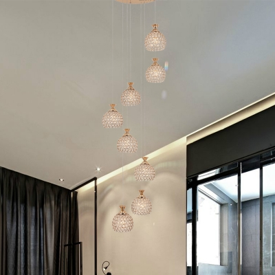 Global Clear Crystal Cluster Pendant Contemporary 8 Bulbs Brass Hanging Ceiling Light for Stair