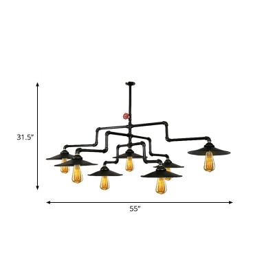 Iron Black Ceiling Light Fixture 3-Tier Pipe 7 Lights Rustic Island Lamp with Cone Shade