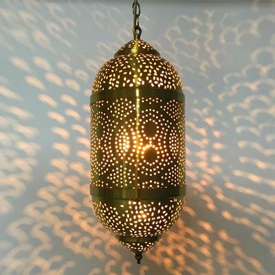 Metal Brass Pendant Lighting Fixture Oval/Double Ring/Globe 1 Head Arab Ceiling Light for Restaurant