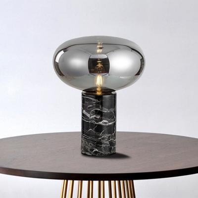 Urn Task Lighting Contemporary Amber/Smoke Grey Glass 1 Bulb Night Table Lamp for Bedroom, 9