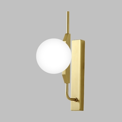 White Frosted Glass Ball Sconce Simple 1 Head Gold Finish Wall Mounted Lamp Fixture