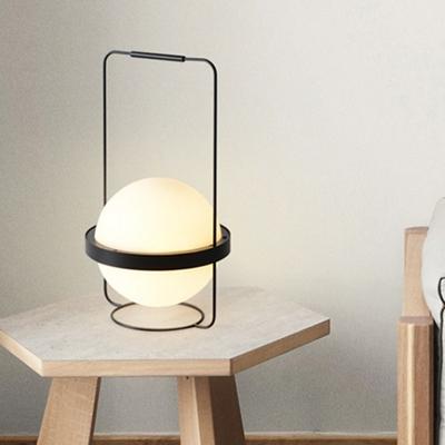 1 Bulb Living Room Desk Lamp Modern Black Task Lighting with Global White Glass Shade