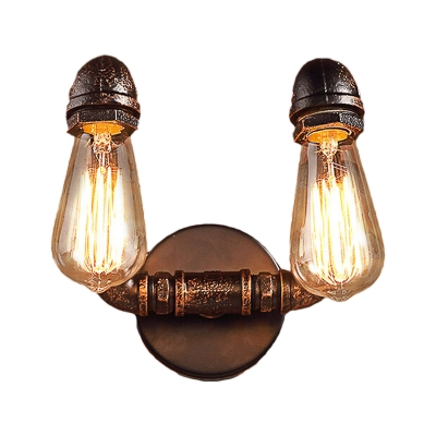 2 Lights Pipe Wall Mounted Light Vintage Rust Finish Metallic Sconce Lamp with Round Backplate
