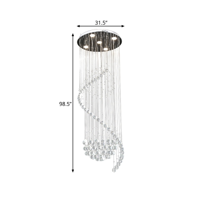 Globe Multi Light Pendant Modernism Clear Crystal 5 Lights Mall LED Ceiling Suspension Lamp