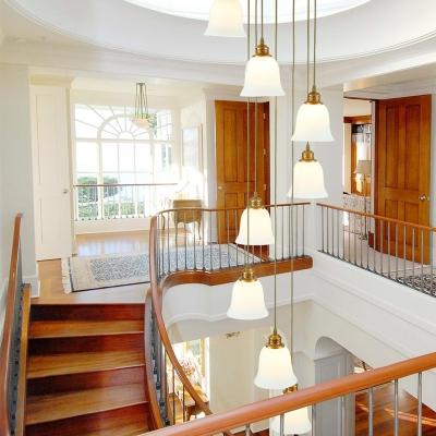 Gold Bell/Dome Cluster Pendant Light Modern 8 Lights White Glass LED Suspension Lamp for Stair