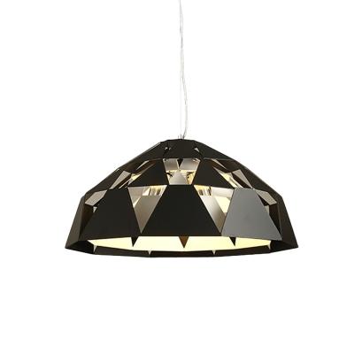 Iron Diamond Shape Pendant Light Fixture Contemporary 3 Heads Ceiling Chandelier in Black