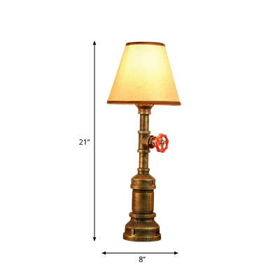 Iron Piping Task Lamp Vintage 1 Light Study Room Night Light in Bronze with Cone Fabric Shade