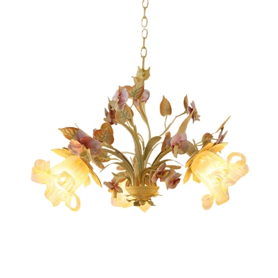 Metal Blossom Pendant Chandelier Countryside 3/6 Heads Living Room Ceiling Lamp in White