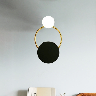Metal Ring Sconce Lighting Contemporary 1-Head Wall Lamp Fixture with Black Round Backplate for Bedside