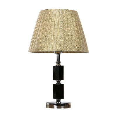 Octagonal Table Light Modern Cut Crystal 1 Head Black Nightstand Lamp with Beige Cone Fabric Shade