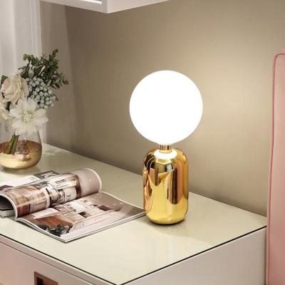 Spherical Task Lighting Modernist Opal Glass 1 Bulb Gold Small Desk Lamp, 6