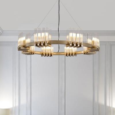 Tube Chandelier Pendant Light Modern Clear Glass 24-Bulb Living Room Suspension Lamp in Brass with Ring Design