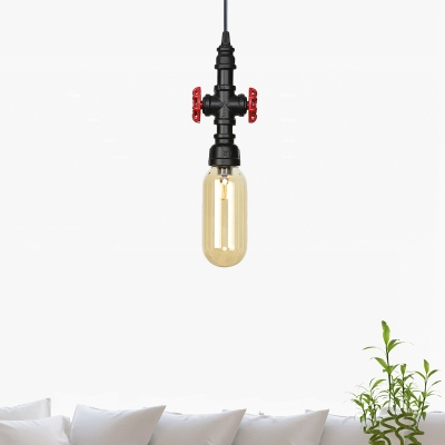 "Beautifulhalo coupon: 1 Bulb Amber Glass Pendant Vintage Black Capsule Coffee Shop LED Suspension Light with Pipe Design, 3""/4"" Wide"