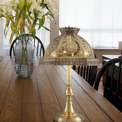 1 Bulb Metal Nightstand Lamp Traditional Brass Dome Bedroom Night Table Lighting