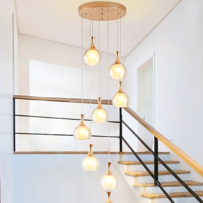 8 Heads Living Room Drop Lamp Minimalism Gold Multi Light Pendant with Dome Amber Glass Shade