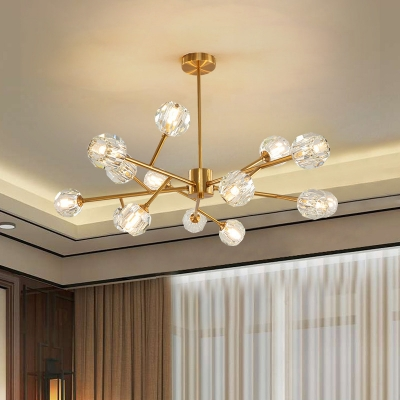 Ball Crystal Chandelier Lamp Modern 15 Heads Gold Hanging Ceiling Light with Branch Design