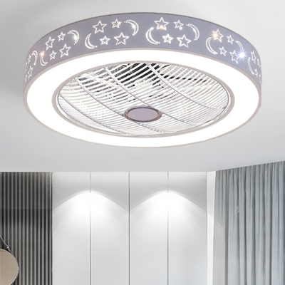 Circular Bedroom Hanging Fan Light Contemporary Metal LED White Semi Flush Mount Lamp, 21.5