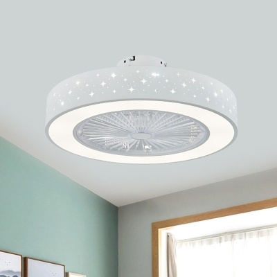 Circular Metal Semi Flush Ceiling Light Simplicity LED Bedroom Pendant Fan Lighting in White with 3 Blades, 21.5