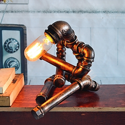 Cross Legged Robot Iron Task Lamp Industrial 1-Bulb Study Room Table Light in Rust