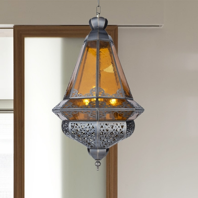 Grey Lantern Suspension Pendant Arabian Metal 1 Light Hallway Hanging Ceiling Light