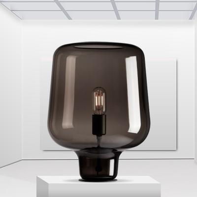 Jar Table Light Contemporary Smoke Gray Glass 1 Head Living Room Small Desk Lamp