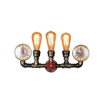 Metal Brass Sconce Lamp Pressure Gauge 3 Lights Industrial Wall Mounted Pipe Light