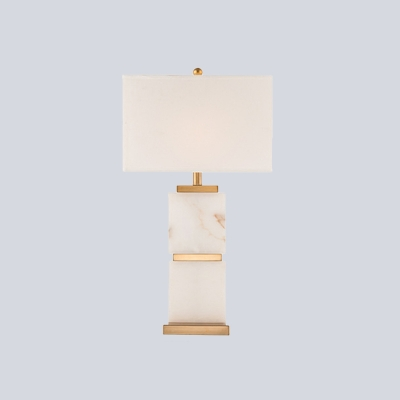 Modernist 1 Head Task Lighting White Rectangle Night Table Lamp with Fabric Shade