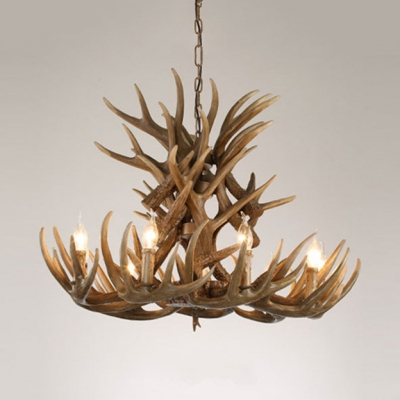 Rustic Style Candle Chandelier with 6/9 Arms Antlers Resin 9 Lights Hanging Light for Dining Room Living Room