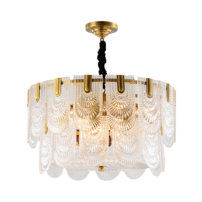 Traditional Round Ceiling Pendant 3/8 Lights Metal & Clear Crystal Chandelier in Gold for Foyer