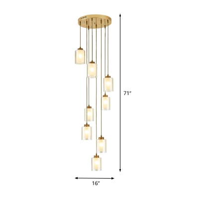 White Glass Cylindrical Cluster Pendant Modern Style 8 Bulbs Down Lighting for Stair