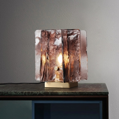 1 Bulb Shaded Task Light Modern Brown Glass Night Table Lamp in Brass with Metal Base