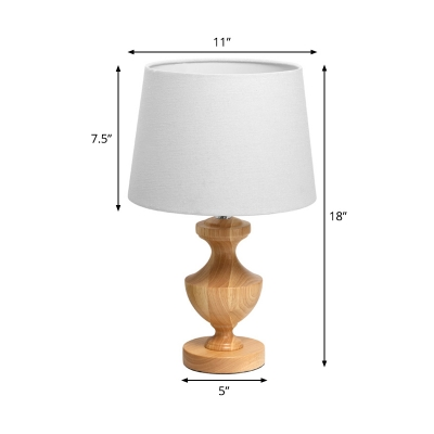 1 Bulb Tapered Drum Nightstand Lamp Modernism Fabric Reading Book Light in Wood