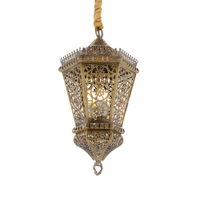 1 Light Lantern Hanging Lamp Arabic Brass Metal Pendant Ceiling Light for Restaurant