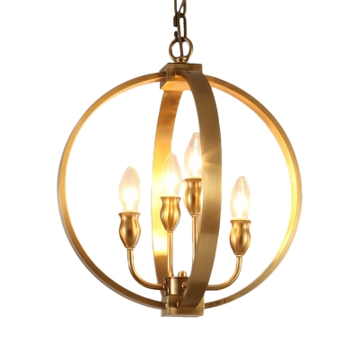 4/6 Lights Candle Chandelier with Globe Shade Elegant Metal Pendant Lighting in Gold for Hotel