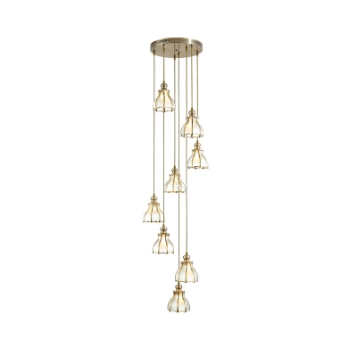 8 Heads Stair Cluster Pendant Light Colonial Gold Ceiling Hang Fixture with Scalloped Frosted Glass Shade