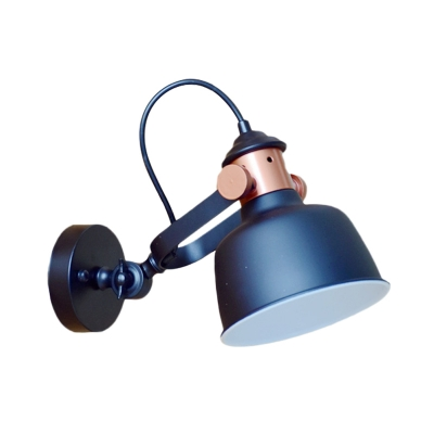 Antiqued Bowl Wall Light Sconce 1-Bulb Metallic Wall Mount Lamp in Black with Adjustable Handle