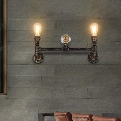 Bronze 2-Bulb Sconce Lamp Vintage Metal Linear Pipe Wall Mounted Light with Gauge Deco
