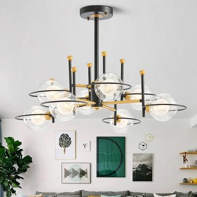 Clear Glass Ball Pendant Ceiling Light Modern 8-Light Black Vertical Chandelier Lamp Fixture
