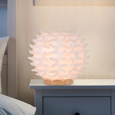 Contemporary Globe Desk Lamp Acrylic LED Bedside Nightstand Light in White with Butterfly Wing Design